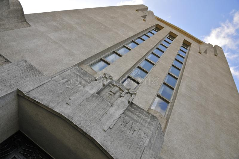 Facade of Building A of Radio Kootwijk, The Netherlands. Radio Kootwijk, located on De Veluwe, was a long wave transmission station, built in reinforced concrete royalty free stock image