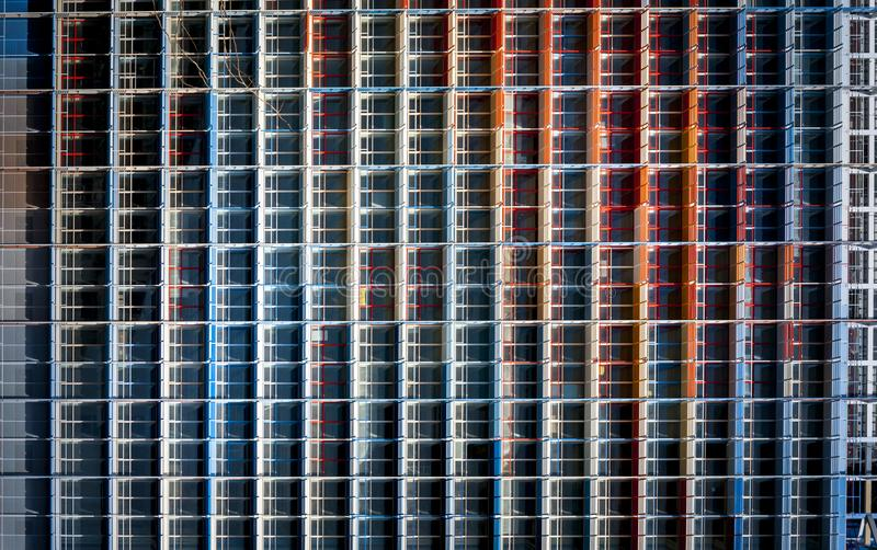 Facade building view of coloured steel structure stock photography