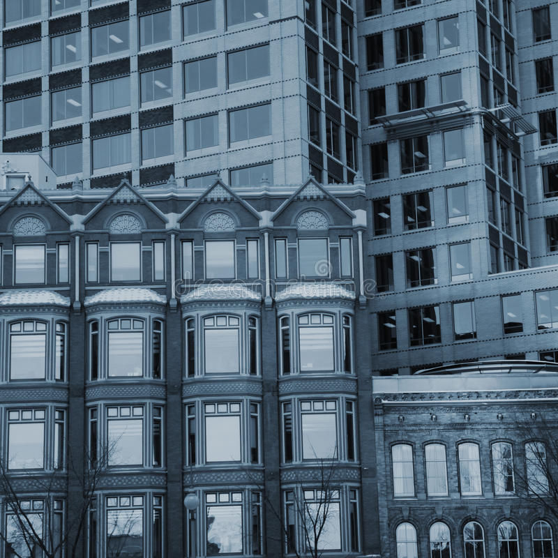 Facade buildings. View of different facades of buildings in blue tone. Instagram style picture stock images