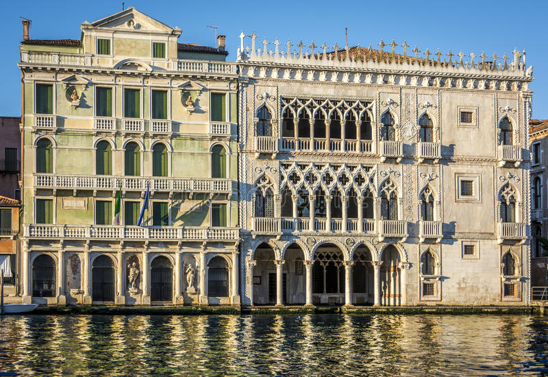 Facade of Ca D`Oro palace on Grand Canal in Venice, Italy stock photos
