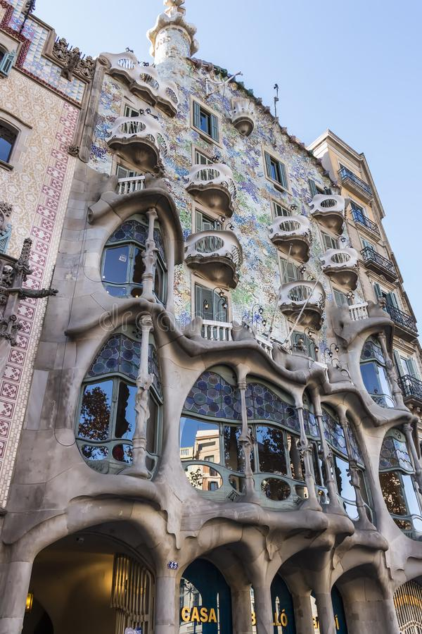 Facade of Casa Batllo. Designed by Antoni Gaudi and built in 1877 stock images