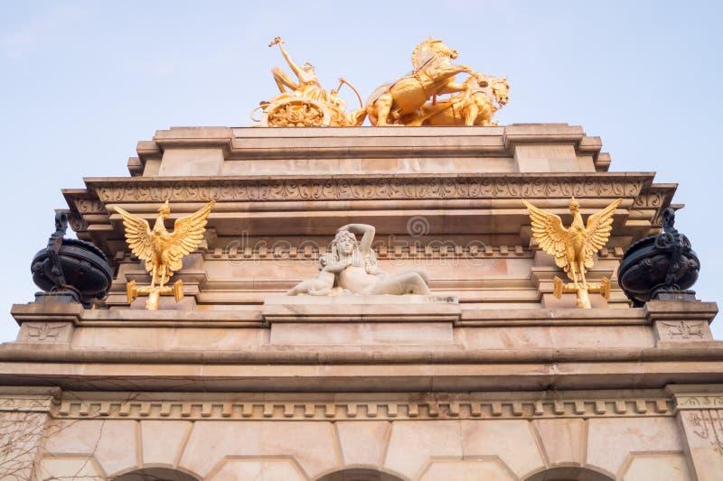 The facade of the Cascada Monumental in the Ciutadella Park or Parc de la Ciutadella in Barcelona, Spain. The facade of the Cascada Monumental in the Ciutadella royalty free stock photography