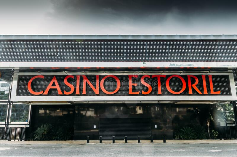 Facade of Casino Estoril in Estoril, Portugal which is closed due to the Coronavirus Covid-19 epidemic stock image