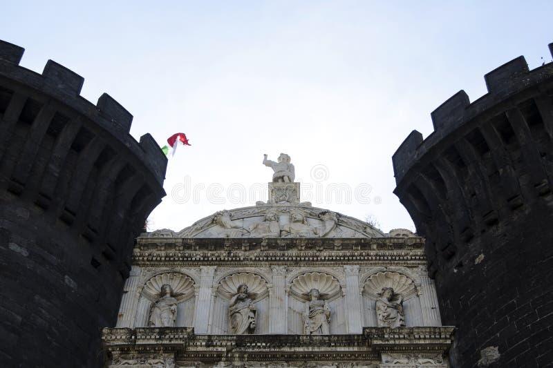 Facade of Castle Nouvo in Naples, Italy. stock photography