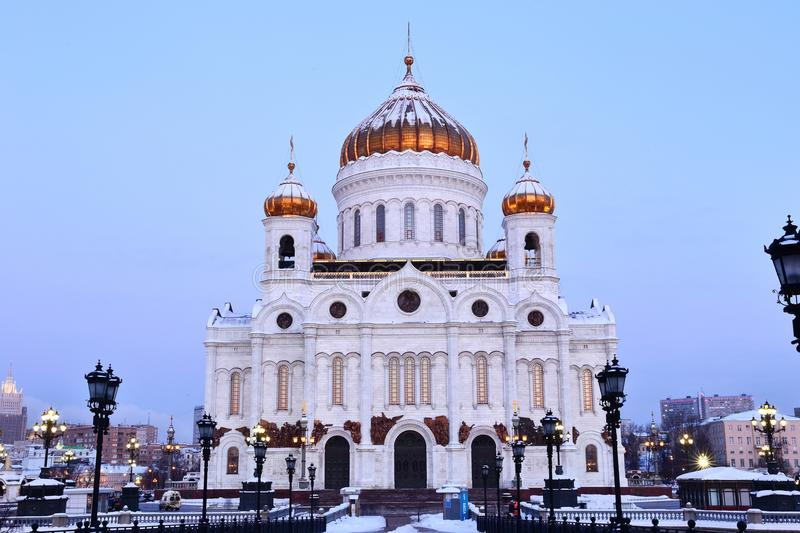 Facade of Cathedral of Christ the Saviour in Moscow royalty free stock photography