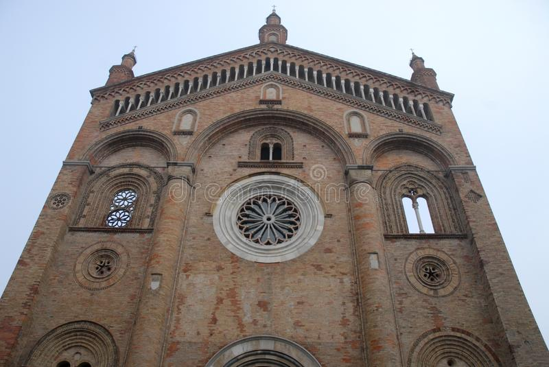 Facade of the cathedral of Cream in the province of Cremona in Lombardy (Italy) royalty free stock images