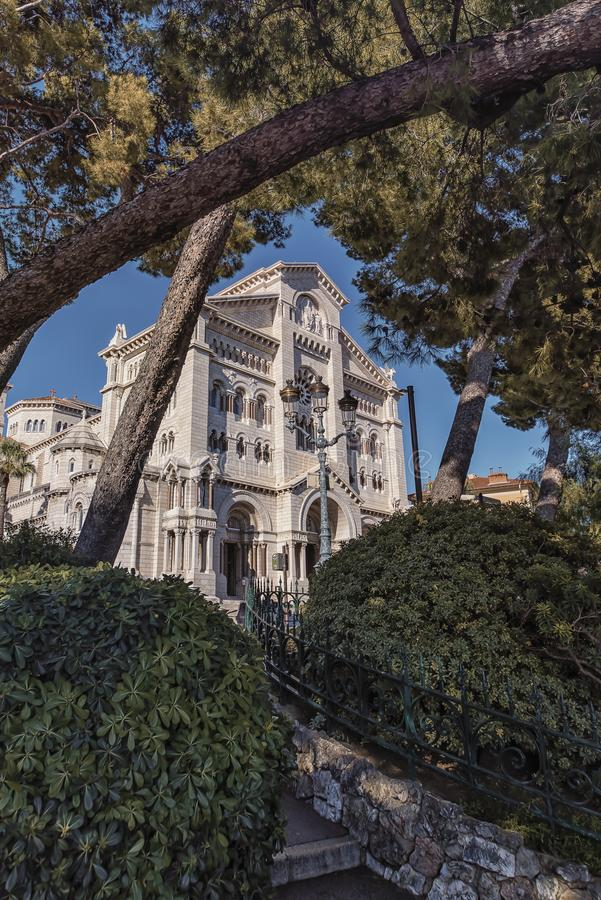 Monaco cathedral in daytime. Facade of the cathedral of Monaco in daytime stock photos