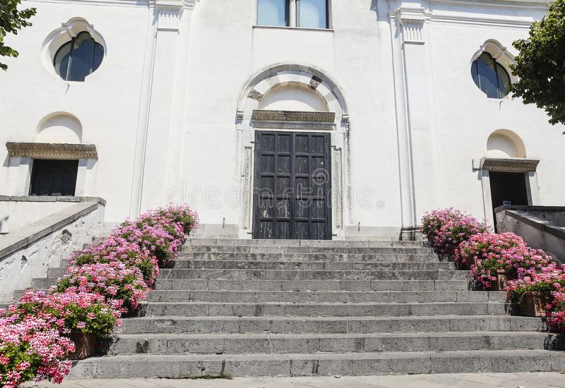 Facade of the Cathedral of Rome, Amalfi coast, mediterranean sea royalty free stock photography