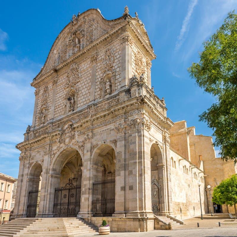 Facade of Cathedral San Nicola in Sassari stock image