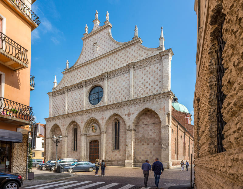 Facade of cathedral Santa Maria Annunziata in Vicenza stock photo