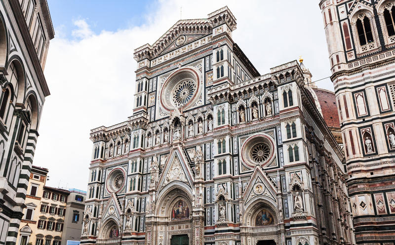 Facade Cathedral Santa Maria del Fiore after rain. Travel to Italy - facade of Cathedral Santa Maria del Fiore in Florence city after rain royalty free stock images