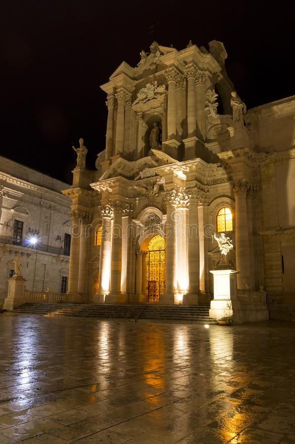 Facade of Cathedral of Syracuse by night in Ortygia. Italy stock photo