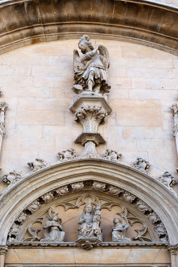 Facade of the Catholic Church in Palma de Mallorca stock images