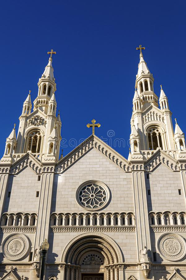 Facade of the Catholic Church of Saints Peter and Paul in San Francisco royalty free stock photography