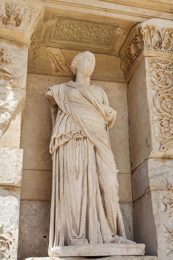 Facade of Celsus library in antique Ephesus. Selcuk in Izmir Province, Turkey. Facade of Celsus library in antique Ephesus. Selcuk in Izmir Province. Turkey stock photography
