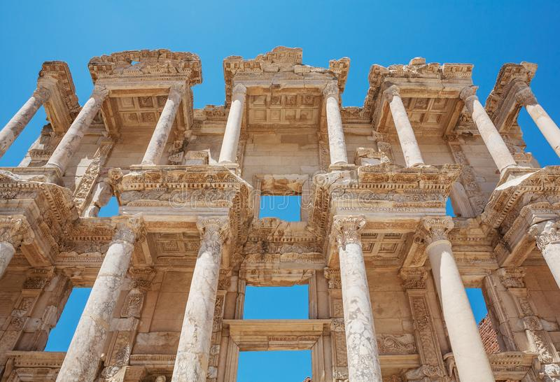 Facade of Celsus library in antique Ephesus. Selcuk in Izmir Province, Turkey. Facade of Celsus library in antique Ephesus. Selcuk in Izmir Province. Turkey royalty free stock photography