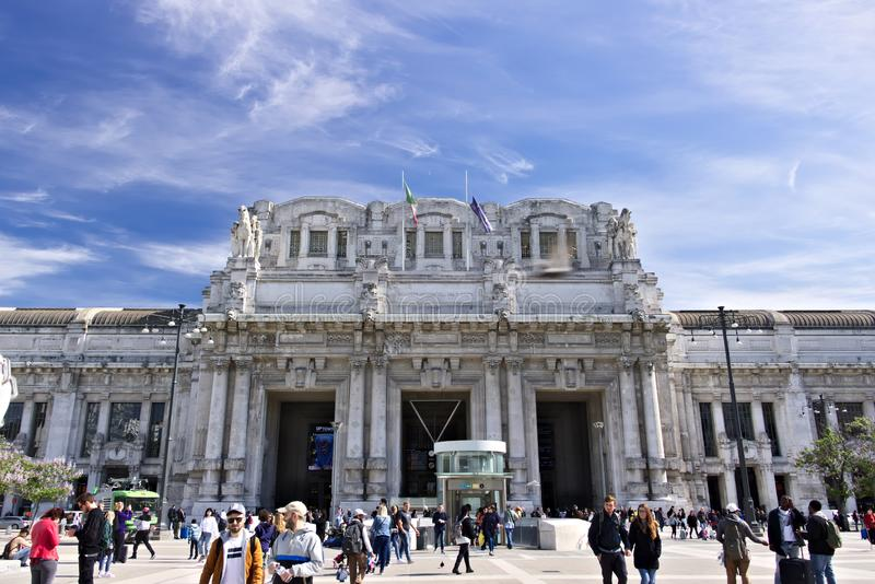 Facade of the central station of Milan. Piazza Duca d`Aosta, whe stock images