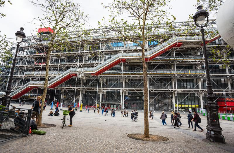 Facade of the Centre of Georges Pompidou in Paris, France. royalty free stock photo