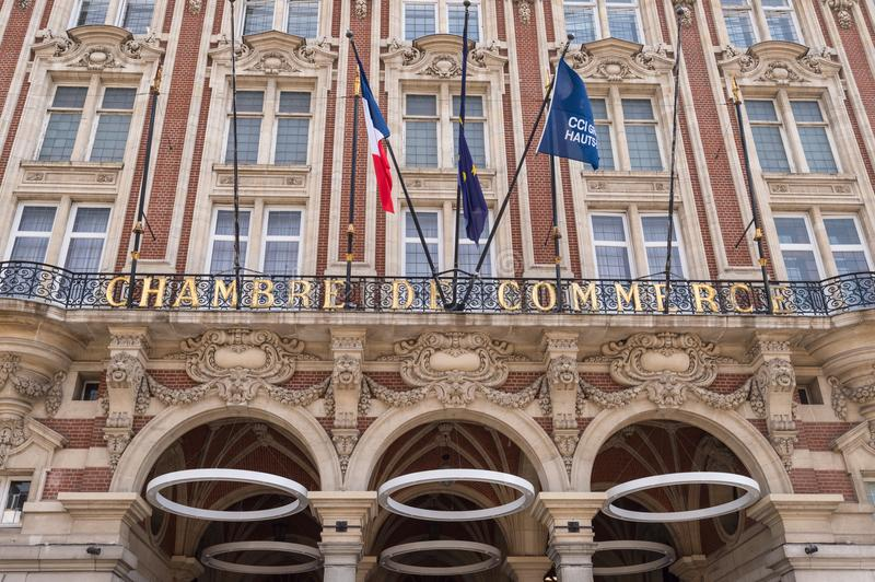 Facade of the Chamber of commerce. Lille, France - 15 June 2018: Facade of the Chambre du commerce royalty free stock photo