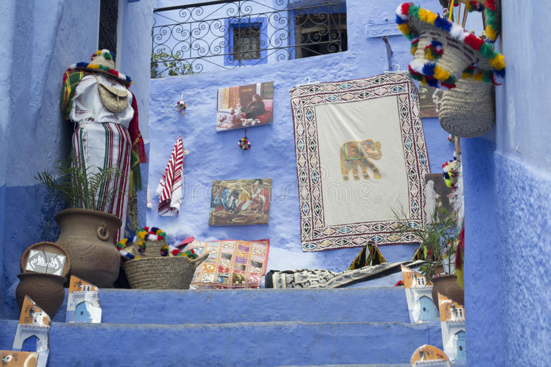 Facade in Chefchaouen royalty free stock photography