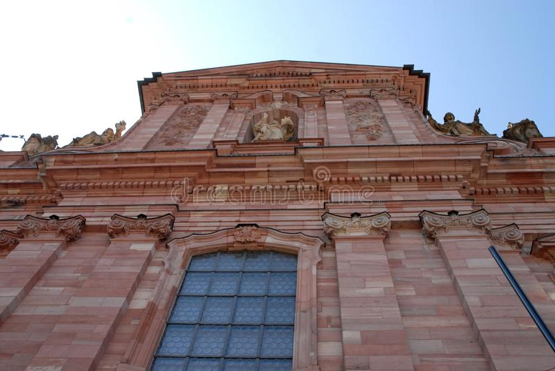 Facade of a church in Heidelberg Germany royalty free stock image