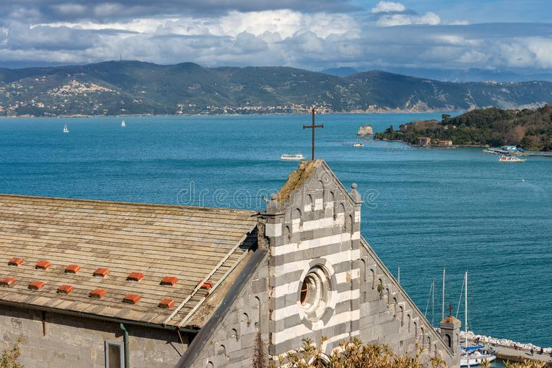San Lorenzo Church - Porto Venere Liguria Italy. Facade of the church of San Lorenzo St. Lawrence 1098-1130, in Porto Venere or Portovenere UNESCO world heritage stock images