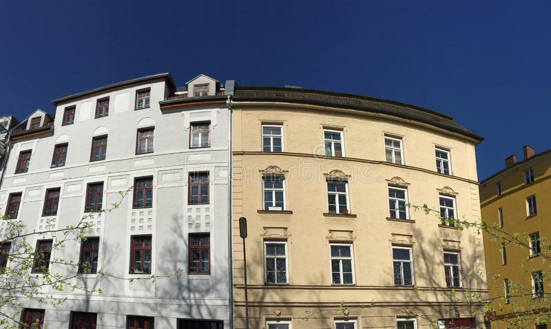 Facade of classical residential buildings in the city royalty free stock photography