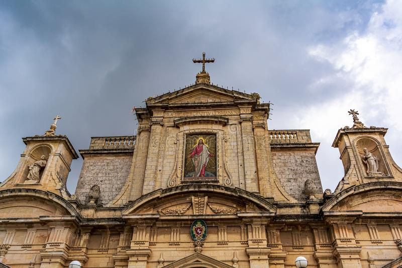 Facade of the Collegiate church of St Paul in Rabat, Malta royalty free stock images
