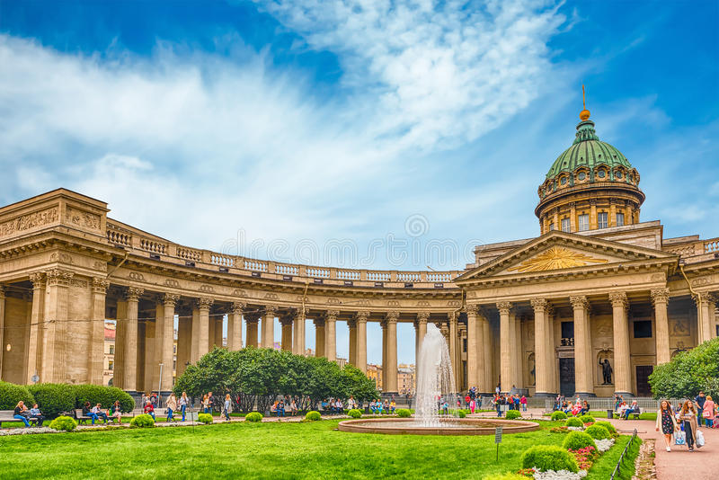 Facade and colonnade of Kazan Cathedral in St. Petersburg, Russia royalty free stock photos