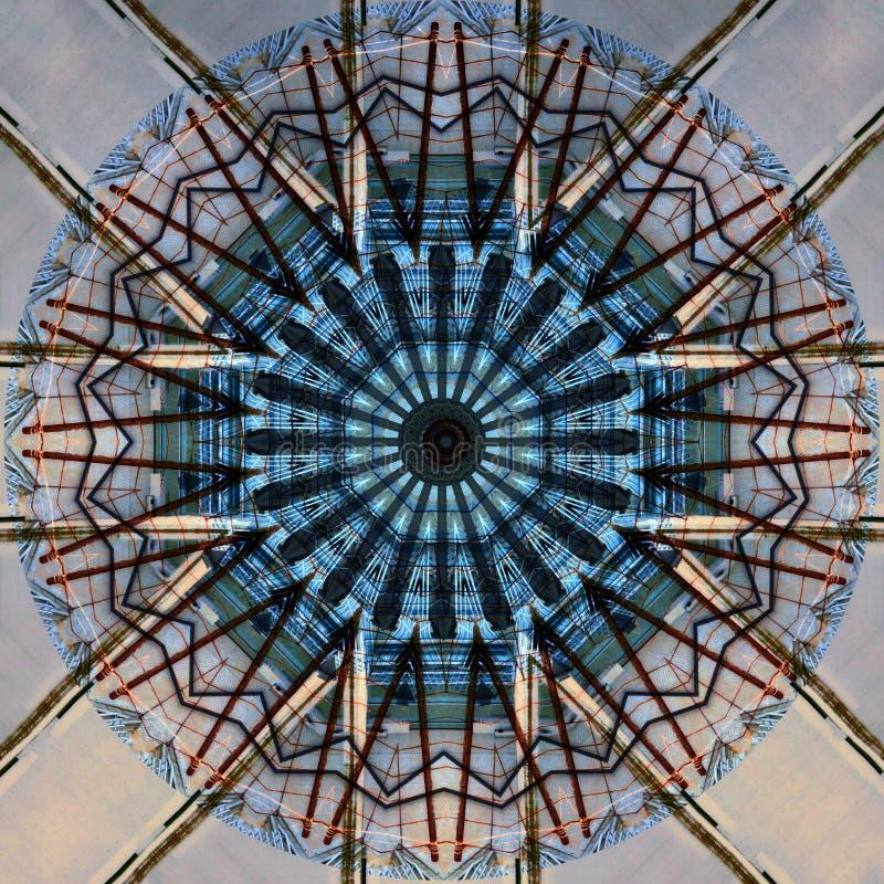 Facade with corkscrew stairs seen through kaleidoscope. Digital art design, facade  with corkscrew stairs seen  through kaleidoscope, computer generated royalty free illustration