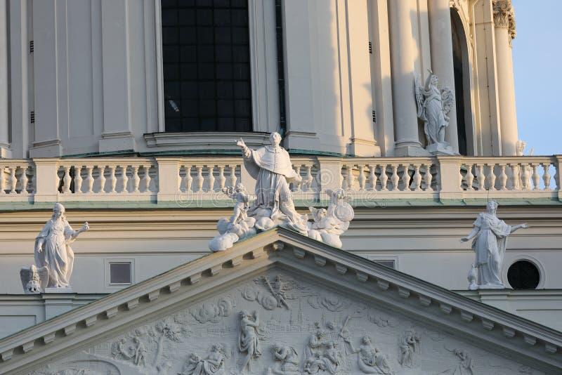 Facade decorations of the Karlskirche. Karlsplatz, Vienna, Austria stock photos