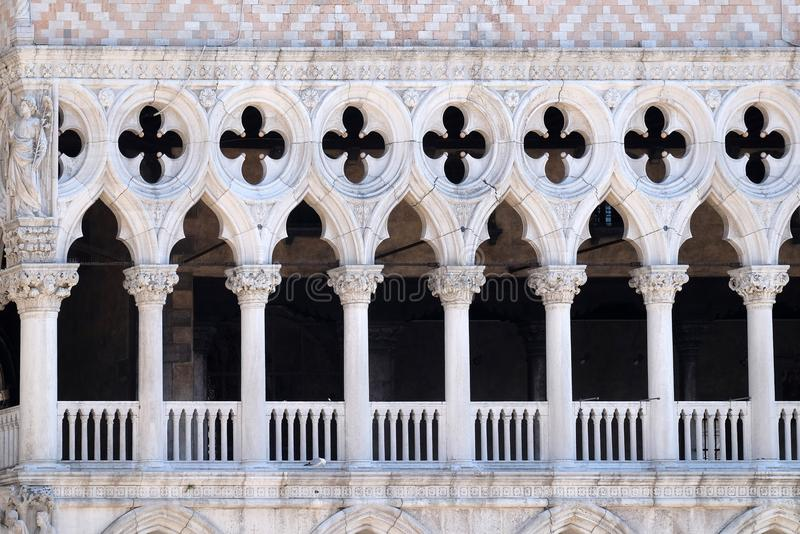 Facade detail of Doge`s Palace on Piazza San Marco, Venice stock image