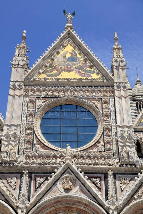 Facade detail of Siena Cathedral in Siena, Italy royalty free stock image