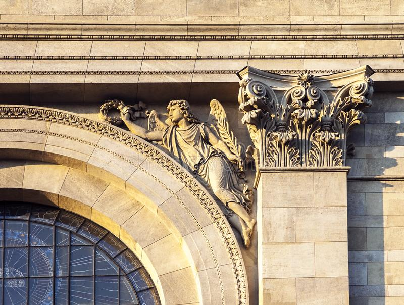 Facade detail of St. Stephen`s Basilica in Budapest royalty free stock photography