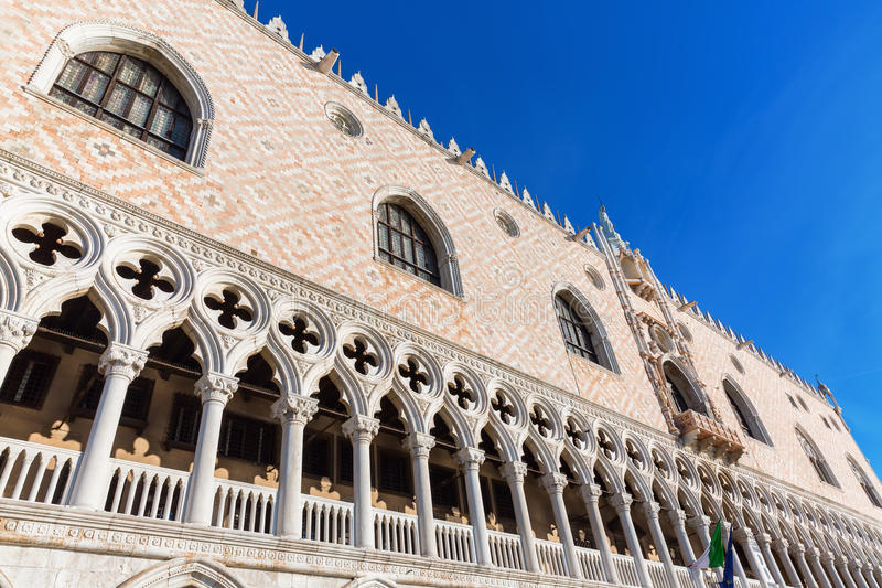 Facade of the Doge`s Palace in Venice stock photos