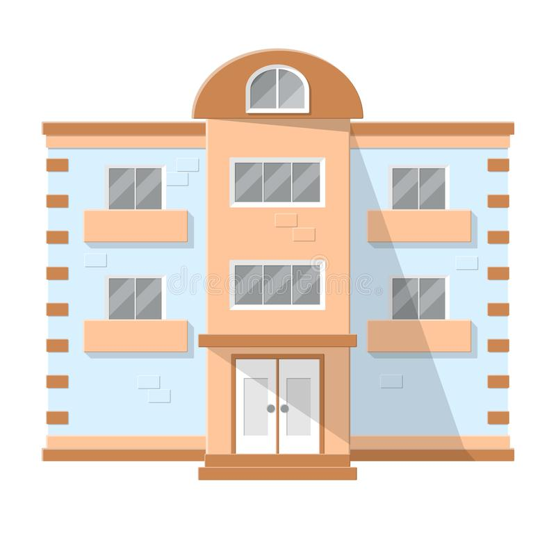 Facade of a dwelling house. Isolated on white background. Flat style vector illustration. EPS10 vector illustration
