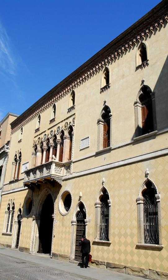 Facade of an elegant building in Padova in Veneto (Italy) stock photography