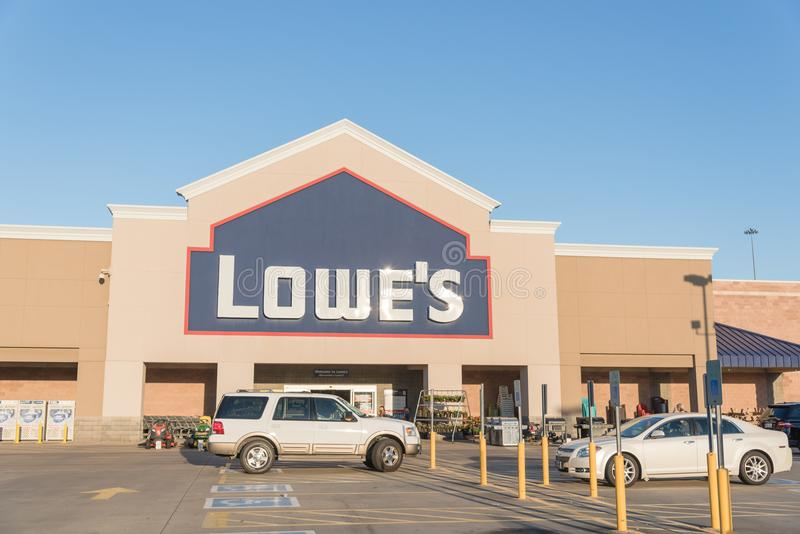 Facade entrance of Lowe home improvement retailer in USA. HOUSTON, TX, USA-SEP 30, 2016:Entrance exterior to Lowe`s store. A Fortune 500 American company stock photography