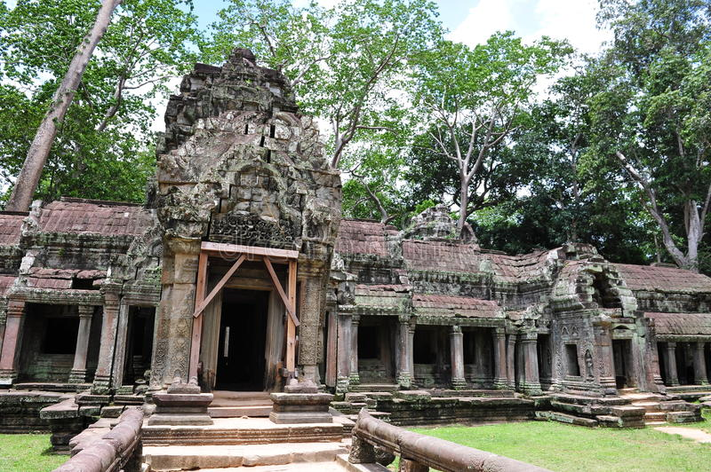 Download Facade And Entrance Of Ta Prohm Temple In Cambodia Stock Image - Image: 27118717