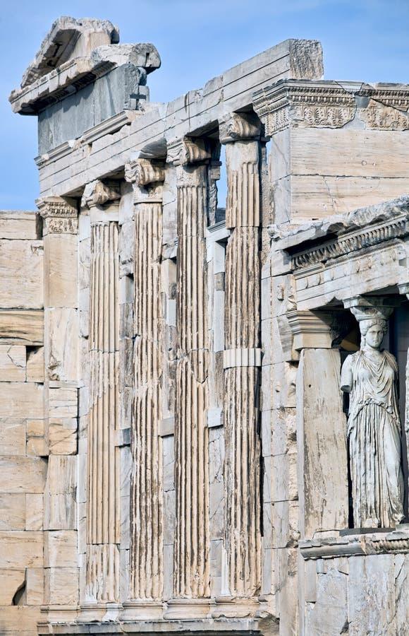 Facade of Erechtheum temple on Acropolis in Athens royalty free stock photo