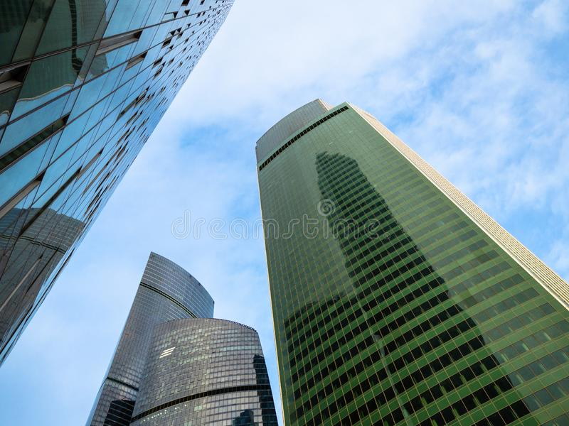 Facade of Eurasia Steel Peak tower in Moscow stock photography