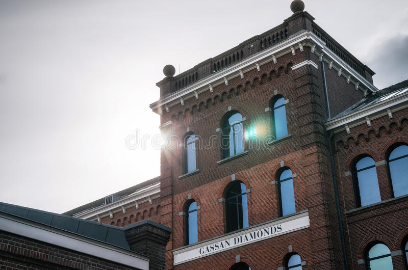 Facade of the factory and showroom of Gassan Diamonds. stock photos