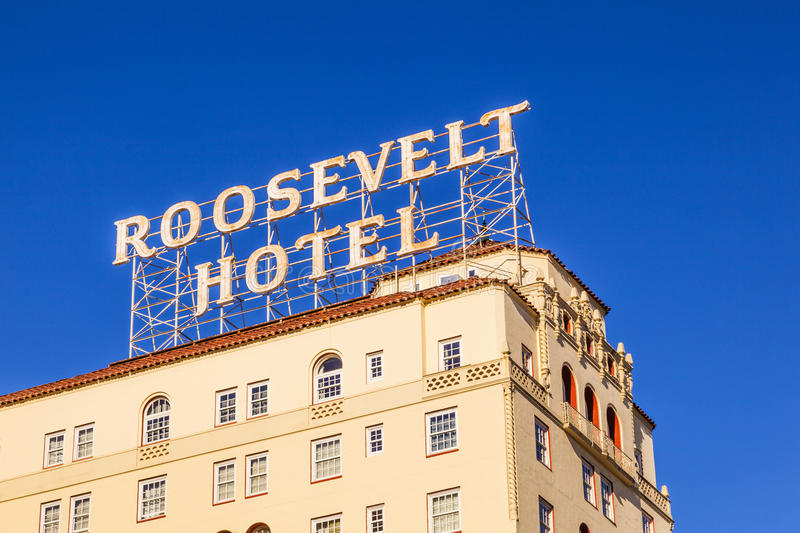 Facade of famous historic Roosevelt Hotel in Hollywood royalty free stock photography