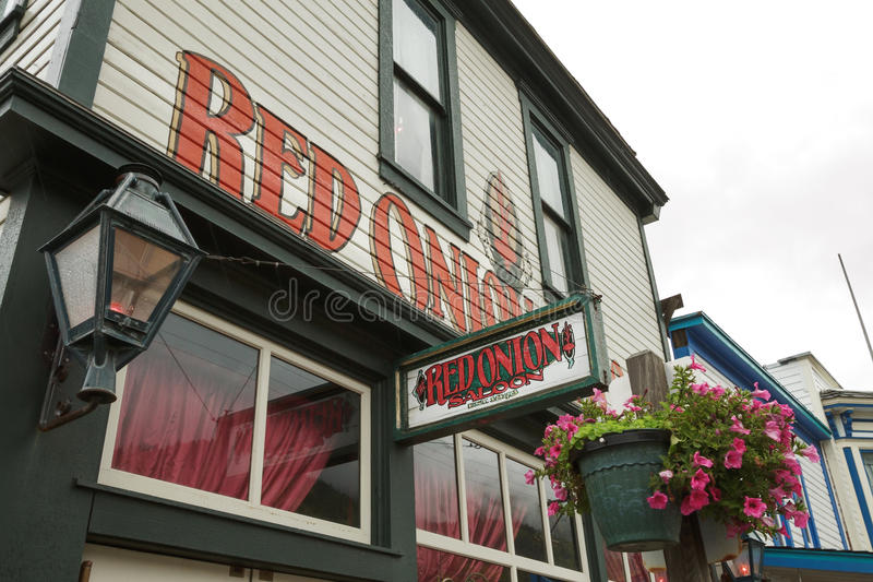 Facade of Famous Red Onion Sallon in Skagway Alaska stock images