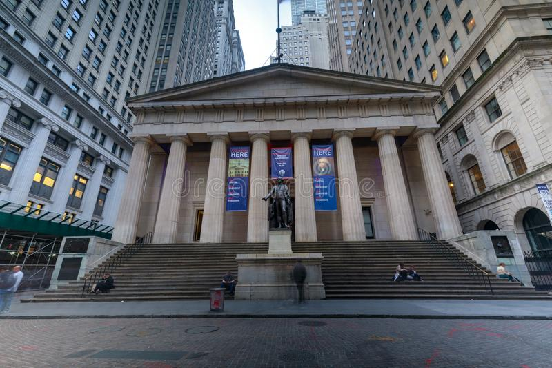 Facade of the Federal Hall with Washington Statue on the front, wall street, Manhattan, New York City stock photography