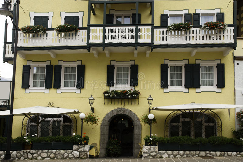 Facade with flowers, Cortina dAmpezzo, Italy royalty free stock photography