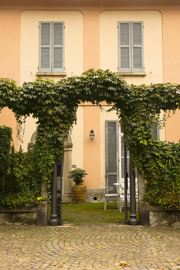 Facade and garden Varenna, Italy stock image