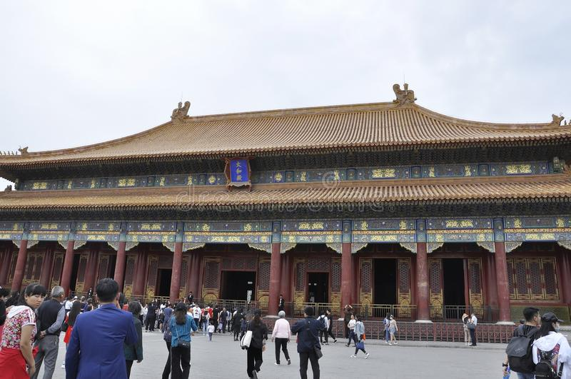 Beijing, 5th may: Gate of Supreme Harmony facade from the Forbidden City in Beijing. Facade of the Gate of the Supreme Harmony in Forbidden City the Chinese stock photography