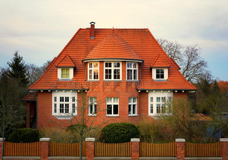 Facade of a german brick house in the evening sun. Mecklenburg-Western Pomerania, Germany stock image