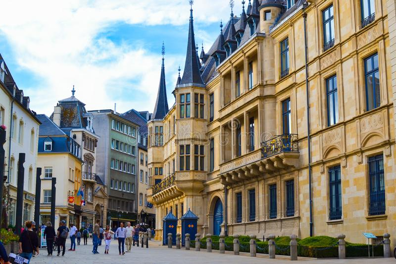 Facade of Grand Ducal Palace in Luxembourg City, Luxembourg stock photo
